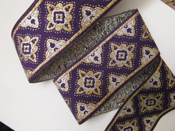 3 yards COSACK Jacquard trim in silver, gold, on purple. 1 3/4 inch wide. 292-E