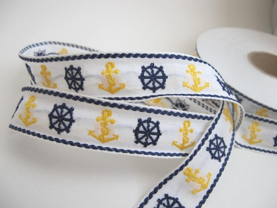 2 yards NAUTICAL Vintage Jacquard trim, navy blue, yellow on white. Made in France, all cotton 930-B