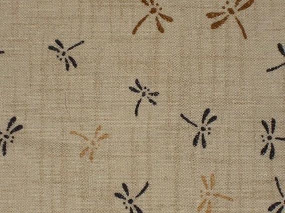 Beige Dragonfly Print - 1.25 Yards
