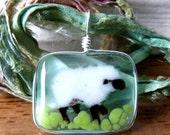 Sheep - fused glass pendant