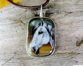 Horse necklace  - Fused glass pendant