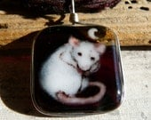 Rat and the moon - fused glass pendant