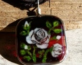 SALE - White roses - fused glass pendant