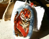 Running Tiger in the Snow necklace -  fused glass pendant