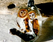 Barn Owls  in the snow - fused glass pendant