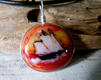 Ship necklace  - fused glass pendant