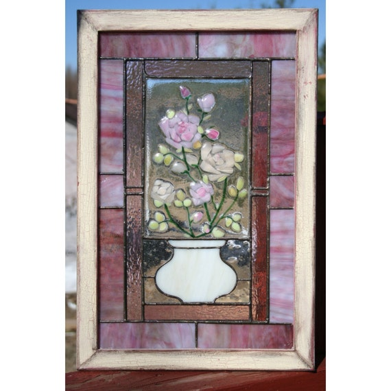 RESERVED Roses - Stained glass panel