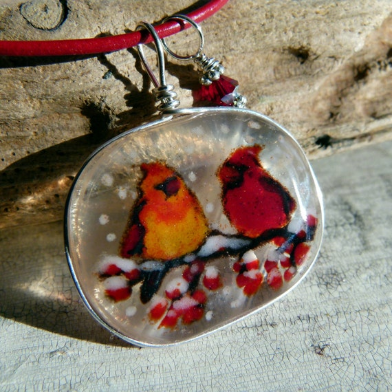 Cardinals necklace - fused glass pendant