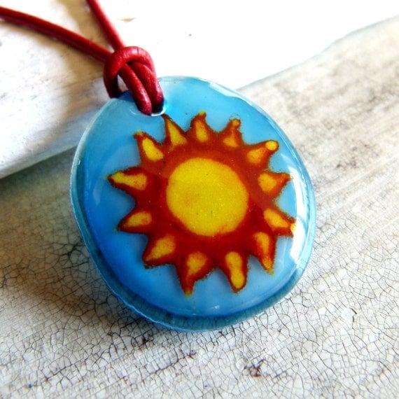 Sun necklace , fused glass pendant