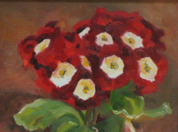 Still Life Oil Painting:  Red Primrose in Clay Pot  8 x 10