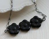 vintage black glass and sterling silver necklace
