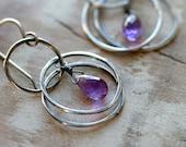 Sterling Silver Hoop Earrings February Birthstone Purple Amethyst Faceted Briolettes Chandelier Tiered