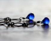 Royal Blue Cubic Zirconia Teardrop Briolettes Sterling Silver Wire Wrap Earrings Long Flowing Winter Fashion