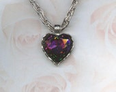 CAPTIVATING MYSTIC CRYSTAL HUGE HEART PENDANT WHITING AND DAVIS ON SALE NOW