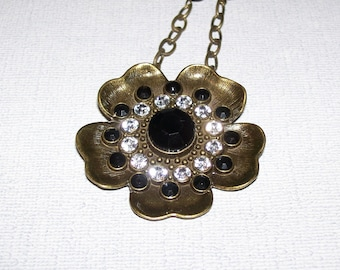 Black and White Hibiscus Flower Necklace - Now on Sale - Was 13 Now on Sale for 9