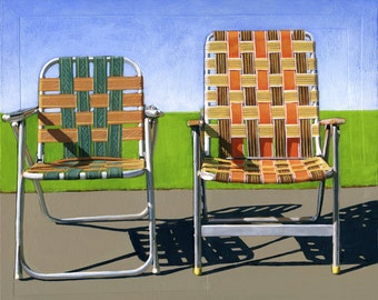 Summer Chairs (orange) - limited edition giclee print 86/100 - As seen in WEST ELM catalog