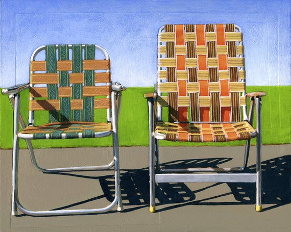 Summer Chairs (orange) - limited edition giclee print 84/100 - As seen in WEST ELM catalog