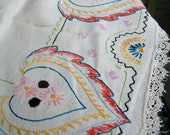 Vintage Embroidery Textile Small Embroidered Square Table Cloth with Ethnic Gypsy Leaf Motif Sewing Ephemera