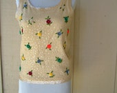 Vintage Sweater Top Sequined Floral Sleeveless Top
