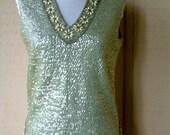 Vintage 1960s Sequin Top Light Aqua Blue Sequined Sweater Top Sleeveless Top Womens Sleeveless Beaded Sweater Top