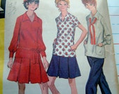 Vintage 1960's Style Blouse Skirt and Pants Pattern in Size 16 and half Vintage McCalls 2365 Vintage 1970's Drop Waist Dress