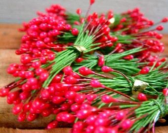 Five Berry Bundles for Crafts Floral Accents Floral Supplies Faux Flower Stamens