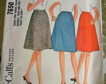 Vintage 1960's Teen Flared Skirt Pattern Petite Vintage McCall's Pattern 7650 Junior Skirt Pattern Junior Size 10 Size 12 Retro Flared Skirt
