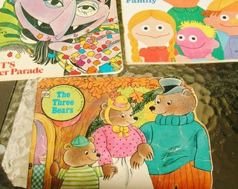 Vintage 1970's Childrens Books Golden Shape Books 70's Sesame Street Three Bears Muppets Paper Ephemera