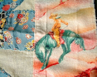 Vintage 1950's Quilt Panel with Cowboys and Flowers Light Blue Red White Orange Retro Cowboy 1950's Cowboy Ranch Retro Sewing Ephemera
