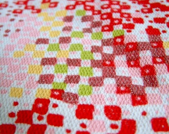 Vintage 1960's Fabric Pink Red White Cotton Stretch Knit Fabric Mod Fabric Pixel Pattern Fabric Mid Century Fabric