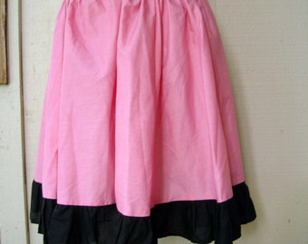 Vintage 1950's Pink Polka Skirt Vintage 1960's Skirt Homemade Retro Skirt Poodle Skirt Pink and Black Skirt