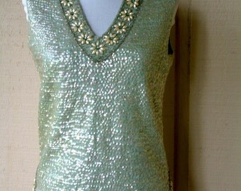 Vintage 1960s Sequin Top Light Aqua Blue Sequined Sweater Top Sleeveless Top Womens Sleeveless Beaded Sweater Top