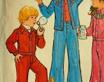 Vintage 1970's Child Size 3 Jacket and Pants Simplicity 6533 Pattern Uncut 1970's Pants Suit Retro 70's Bell bottoms Western Style Jacket