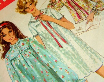 Vintage 1960s Nightgown Nightie Bedjacket Retro Simplicity Sewing Pattern Womens Size Medium Size 12 Size 14