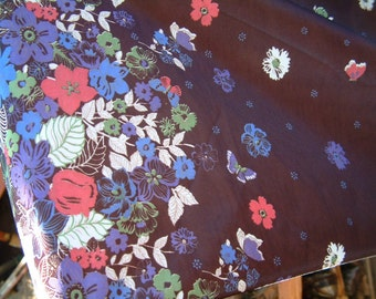 Vintage 1970's Fabric Floral Border Blue Red White Brown stretch knit floral brown fabric maxi dress fabric