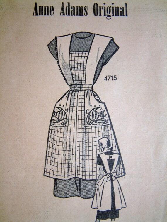 Small Anne Adams 1940s Vintage Apron Pattern RARE