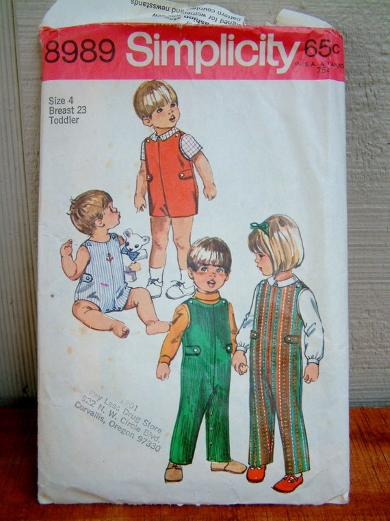 Vintage 1970's Child's Jumpsuit Pattern Toddler Romper Child Size 4 Vintage 1970's Jumpsuit and Shirt Simplicity 8989 Sewing Pattern