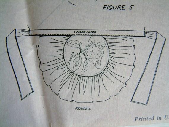 Vintage 1950s Apron Transfer Sewing Pattern Half Apron for Women Retro 1940s Retro 1950s Rare