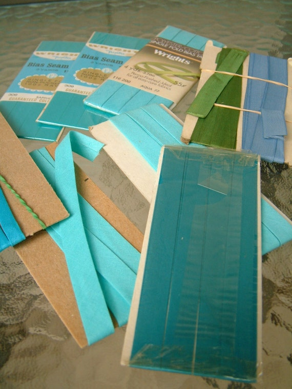Lot of Blue Bias Seam Tape Trim