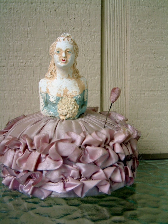 Antique Plaster Lady Pincushion Sateen Lavender Lady Pincushion Vintage Pin Cushion Antique Sewing Figurine Pastel Purple Doll Collectible
