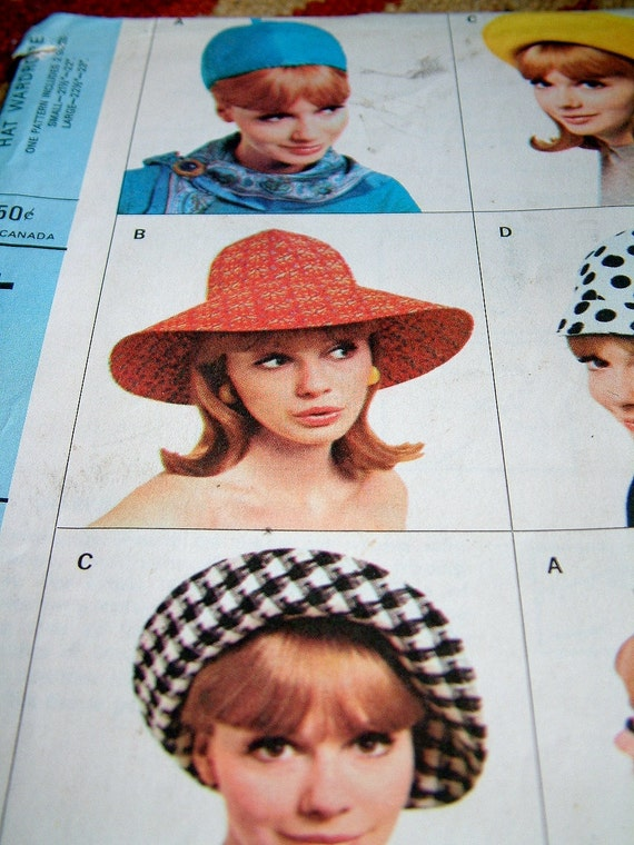 Vintage 1960s Womens Hat Wardrobe Mod Style UNCUT Retro McCalls 8254 Pattern Womens Size Small Hat Womens Size Large Hat Classic 60s Hats
