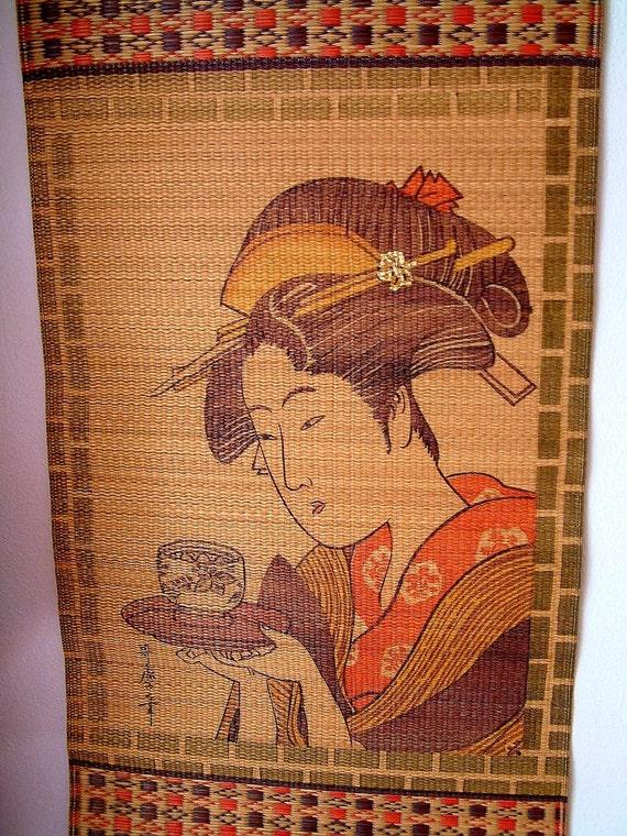 Japanese Geisha Serving Tea Grass Mat Scroll By