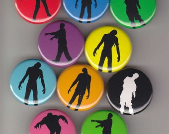 10 Zombie Silhouette Buttons