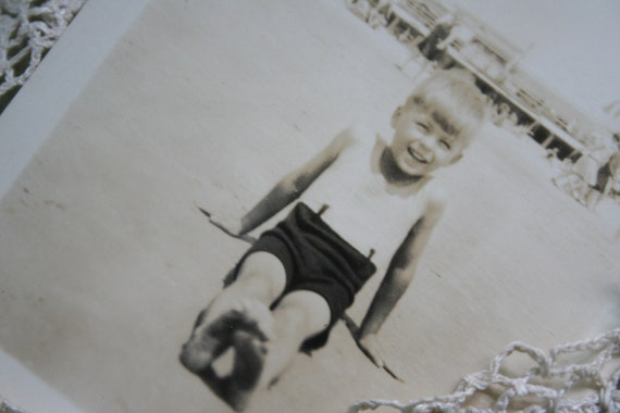 Vintage Photo of Oscar on the Beach - 1930's - 40's