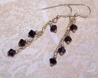 Garnet Earrings Crystal Chime