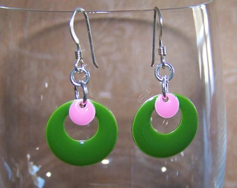 Green Pink Earrings Easter Candy Drop