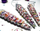 Rainbow Sprinkle Christmas Ornaments - Sugar Rush Icicle - Plastic icicles filled with bright colorful sprinkles - Kawaii Kandi (Set of 6)