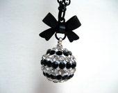 Black Striped Rhinestone Orb Necklace - Super sparkly black and white stripes rhinestone orb with black bow - Punk Gothic Lolita