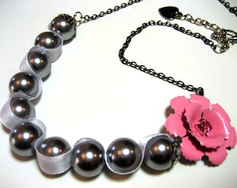 Pink rose necklace - Vintage inspired pink rhinestone rose with chunky faux soft gray pearls and matching ribbon