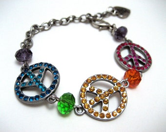 Peace Sign Bracelet - Rainbow Peace - Bright colorful jewelry with rhinestone peace signs and glass beads - Hippie Kawaii Kandi Raver PLUR